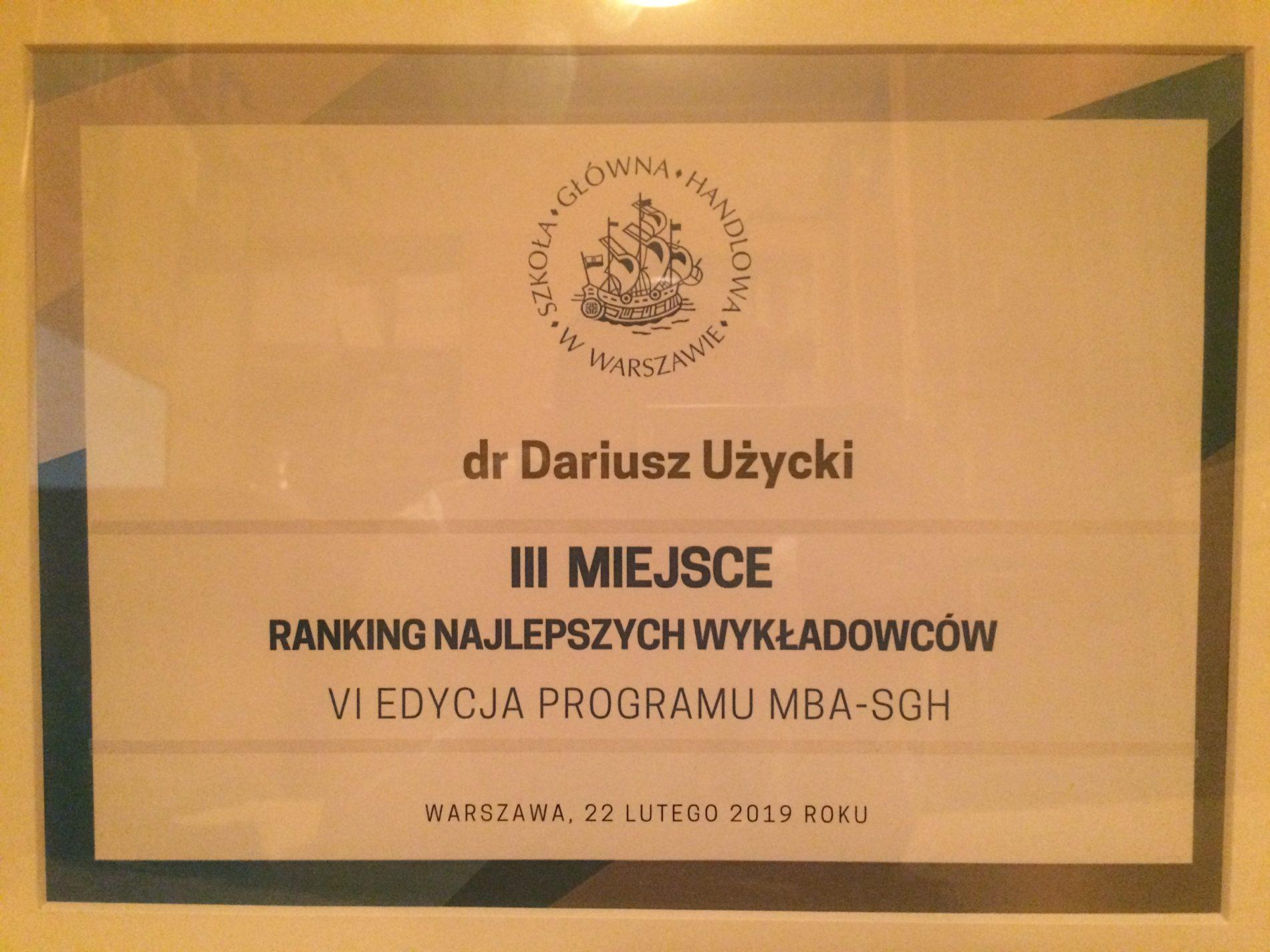 Dostałem Oskara na MBA-SGH :-) !